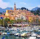 Menton, France. View of yacht port and the old city of Menton town on French Riviera, France Stock Photos