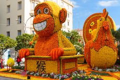 Menton, Francja February20: Cytryna festiwal na Francuskim Riviera (feta Du Cedrat) Temat dla 2015: Udręki cytryna wewnątrz obraz royalty free
