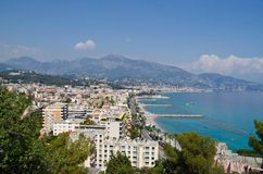 Menton, French Riviera. Panorama beaches, towns and mountains, French Riviera Stock Image