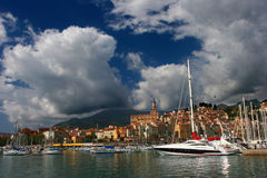 Menton Harbor. On the French Riviera, France Stock Photography