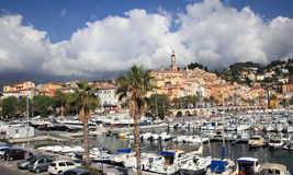 Menton harbour and cityscape Royalty Free Stock Photo