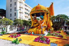 Menton Lemon Festival 2019, Art made of lemons and oranges. Fantastic Worlds Theme. Famous celebration on Cote d`Azur, France, Europe, Fete du citron, Corso royalty free stock image