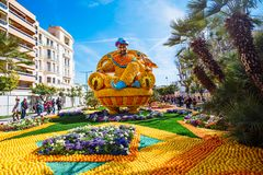 Menton Lemon Festival 2019, Art made of lemons and oranges. Fantastic Worlds Theme. Famous celebration on Cote d`Azur, France, Europe, Fete du citron, Corso royalty free stock images