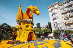 Menton Lemon Festival 2019, Art made of lemons and oranges. Fantastic Worlds Theme. Famous celebration on Cote d`Azur, France, Europe, Fete du citron, Corso stock photo
