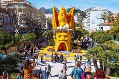 Menton Lemon Festival 2019, Art made of lemons and oranges. Fantastic Worlds Theme. Famous celebration on Cote d`Azur, France, Europe, Fete du citron, Corso stock images
