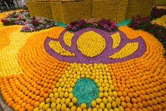 Menton Lemon Festival 2018, Bollywood Theme art made of lemons and oranges, close-up royalty free stock photo