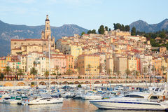 Menton, old city and harbor view in the early morning Royalty Free Stock Images
