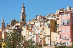 Menton, old city houses in the morning Stock Images