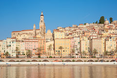 Menton, old city houses in the morning, French riviera Stock Images