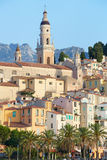 Menton, old city houses in the morning Stock Image