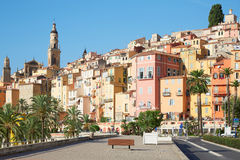 Menton, old city houses and street in the morning Stock Image