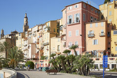 Menton, old city houses and street in the morning Stock Photos