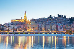 Menton, old city illuminated in the evening, French riviera Stock Image