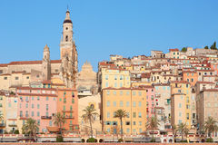 Menton, old town houses in the morning Royalty Free Stock Photos
