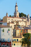 Menton, old town houses in the morning, France Stock Image