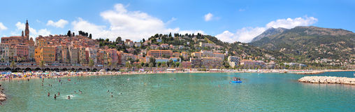Menton panoramic view. Royalty Free Stock Images