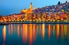 Menton Provence village at night Royalty Free Stock Image