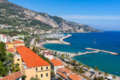 Menton shoreline from above. Stock Photo