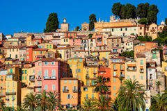Menton Southern France. Row Houses in Menton, Côte d`Azur, France Stock Photography