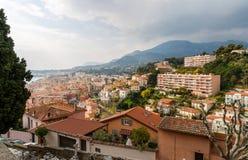 Menton stad - Cote d'Azur, Frankrike Arkivbilder