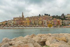 Menton town in a colorful houses at summer Royalty Free Stock Image