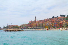 Menton town in a colorful houses at summer Stock Images