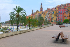 Menton town in a colorful houses at summer Stock Photos