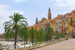 Menton town in a colorful houses at summer Stock Photography