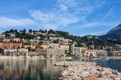 Menton Town on French Riviera in France. Menton town at Mediterranean Sea on French Riviera in France Stock Photos