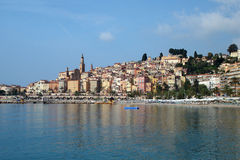 Menton. View of the old town of Menton, Côte d'Azur, France Stock Photography