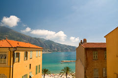Menton village. Menton streets and view on Mediterranean Sea Stock Photography