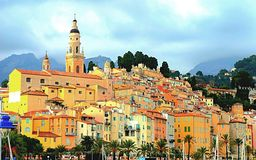 Menton village. South of France Stock Images