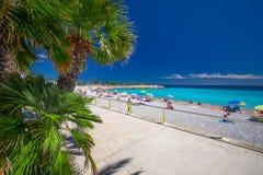 Mentonstad met kustlijnpromenade, Mediterrane Kust, Franse riviera Stock Foto's