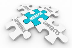 Mentor Advice Experience Guidance Contacts Puzzle Pieces Stock Photo
