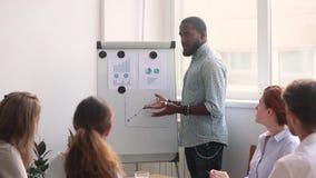 Mentor africain de directeur d'homme d'affaires donnant l'équipe de formation de présentation d'affaires banque de vidéos