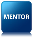 Mentor blue square button Royalty Free Stock Images