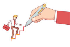 Mentor drawing ladder for a small businessman Stock Photo