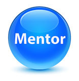 Mentor glassy cyan blue round button Stock Photography