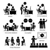 Mentor guidance coach for business executive. The company business training are mentoring, personal guidance, online teaching, one to one coaching, counselor royalty free illustration