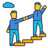 Mentor, helping, mentoring, achieving goal flat line illustration, concept vector isolated icon Royalty Free Stock Photo