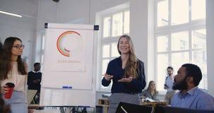 Mentor novo positivo da mulher de negócio que ensina os sócios multi-étnicos, compartilhando da experiência sorrindo no escritóri filme