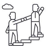 Mentor, pomaga, obowiązki mentora, dokonuje bramkową wektor linii ikonę, znak, ilustracja na tle, editable uderzenia royalty ilustracja