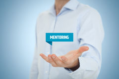 Mentoring. Advertisement concept. Mentor show virtual label with text royalty free stock photos