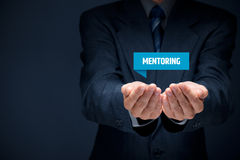 Mentoring. Advertisement concept. Mentor show virtual label with text royalty free stock photography