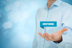 Mentoring. Advertisement concept. Mentor show virtual label with text stock photography