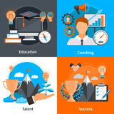 Mentoring Coaching Concept 2x2 Icons Set. Flat design 2x2 concept icons for mentoring and coaching skills development set isolated vector illustration Stock Image