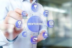 Mentoring and Coaching concept illustration on virtual screen. Mentoring and Coaching concept illustration on virtual screen royalty free stock photography