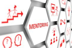 MENTORING concept. Cell blurred background 3d illustration Stock Photography
