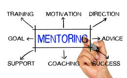 Mentoring concept flowchart. Handwritten on white background stock photo