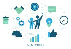 Mentoring concept. Giving advice for career success. Guidance in business. Support and motivation. Set of colorful icons. Isolated flat vector illustration stock illustration